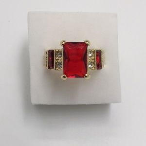 3 CARAT AAA RED RUBY YELLOW RHODIUM PLATED Size 8